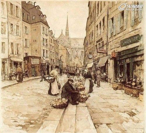 从简洁街景速写手绘看欧式街区规划