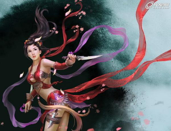 手绘中国风古装美女红衣