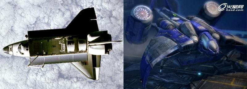 anna搭乘的发现号航天飞机(太空拍摄);右图:星际争霸