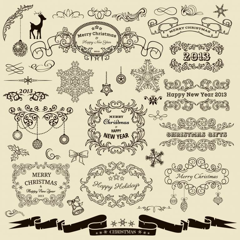 边框欧式手绘花纹线条丝带雪花圣诞树矢量素材蝴蝶结吊球花边铃铛边角