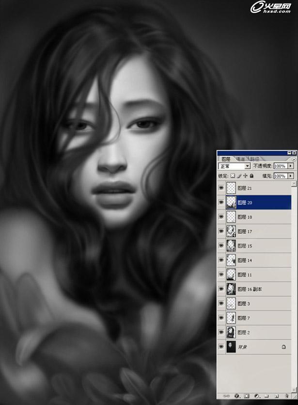 手绘插画教程:人物美女肖像
